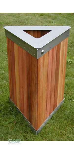 Waste containers, stainless steel & wood SLC02