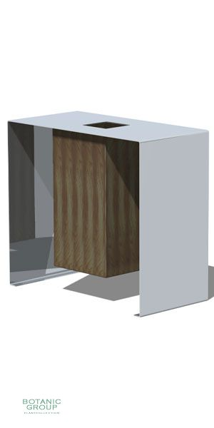Waste containers, stainless steel & wood SLC03