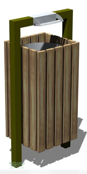 Waste containers, stainless steel & wood SLC10