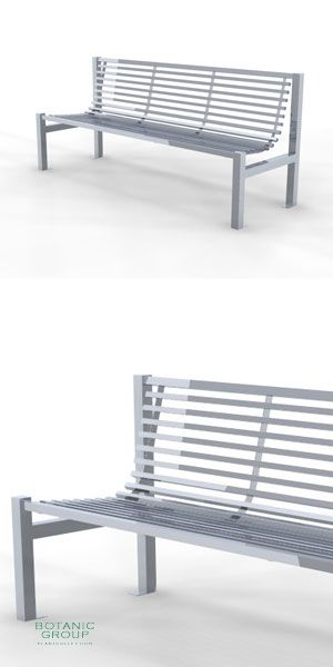 Park bench, bench StainSteel 02, stainless steel