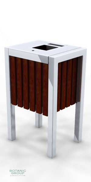 Waste containers, stainless steel & wood SLC14