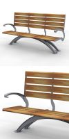 Park bench, bench SLC53, steel with wood